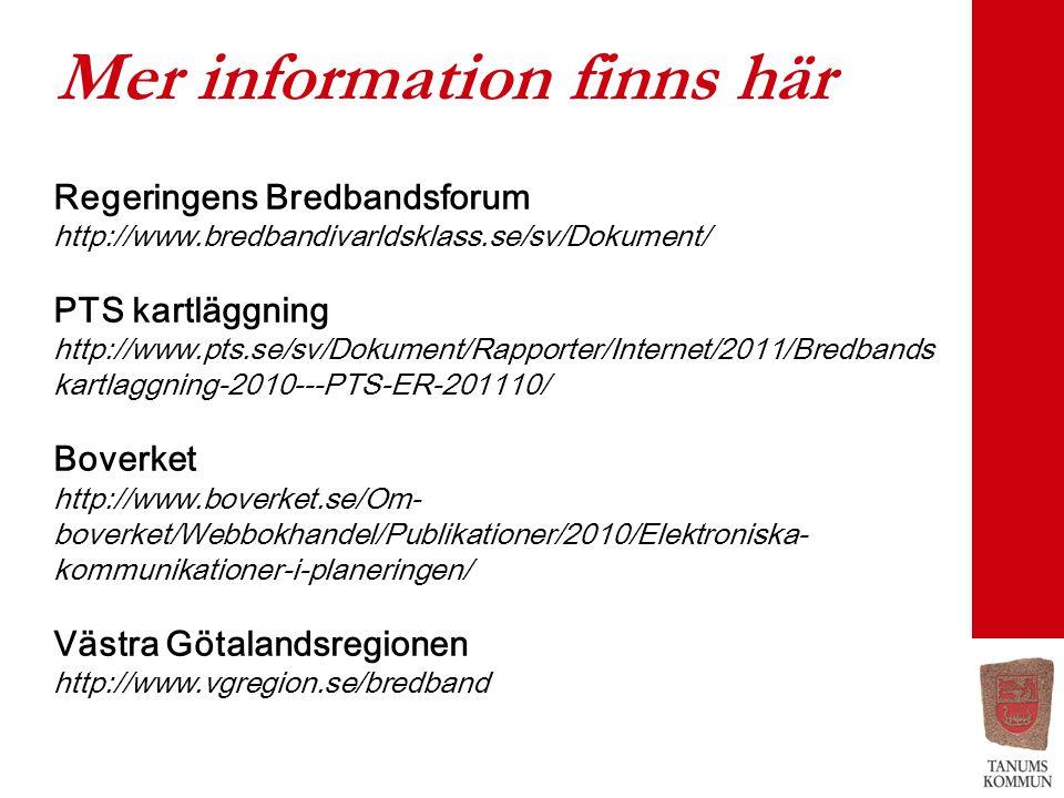 Mer information finns här Regeringens Bredbandsforum http://www.bredbandivarldsklass.se/sv/Dokument/ PTS kartläggning http://www.pts.se/sv/Dokument/Rapporter/Internet/2011/Bredbands kartlaggning-2010---PTS-ER-201110/ Boverket http://www.boverket.se/Om- boverket/Webbokhandel/Publikationer/2010/Elektroniska- kommunikationer-i-planeringen/ Västra Götalandsregionen http://www.vgregion.se/bredband