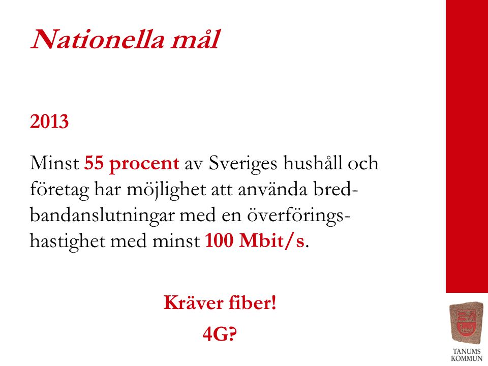 Nationella mål 2013 Minst 55 procent av Sveriges hushåll och företag har möjlighet att använda bred- bandanslutningar med en överförings- hastighet me