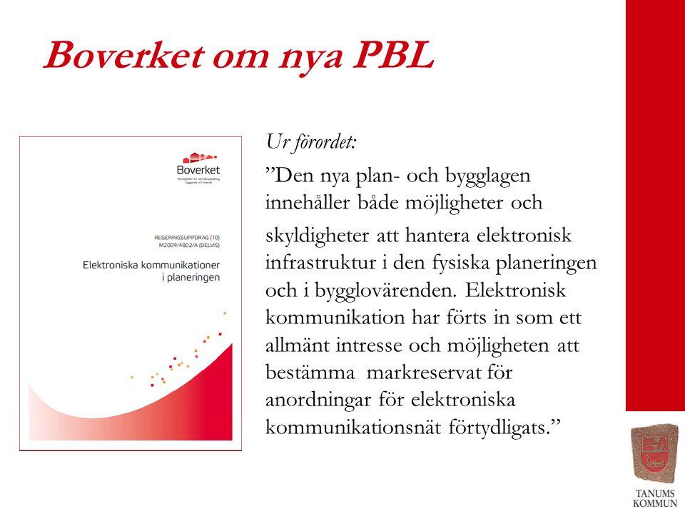 Boverket om nya PBL Ur förordet: Den nya plan- och bygglagen innehåller både möjligheter och skyldigheter att hantera elektronisk infrastruktur i den fysiska planeringen och i bygglovärenden.