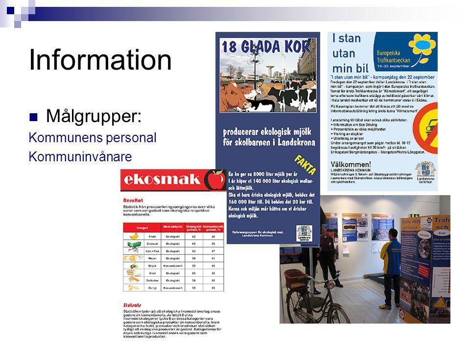 Information  Målgrupper: Kommunens personal Kommuninvånare