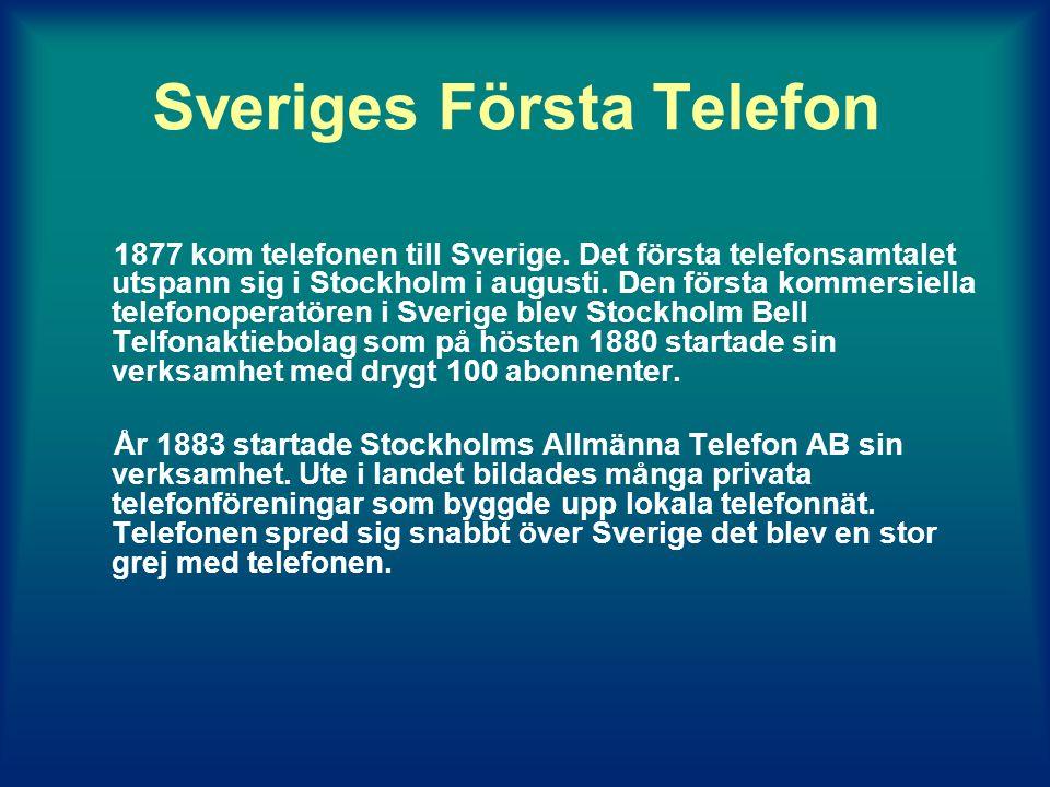 Sveriges Första Telefon 1877 kom telefonen till Sverige.
