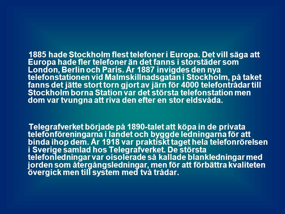 1885 hade Stockholm flest telefoner i Europa.