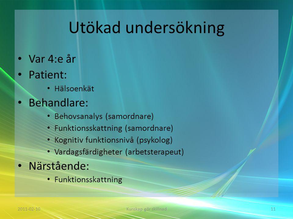 Utökad undersökning • Var 4:e år • Patient: • Hälsoenkät • Behandlare: • Behovsanalys (samordnare) • Funktionsskattning (samordnare) • Kognitiv funkti