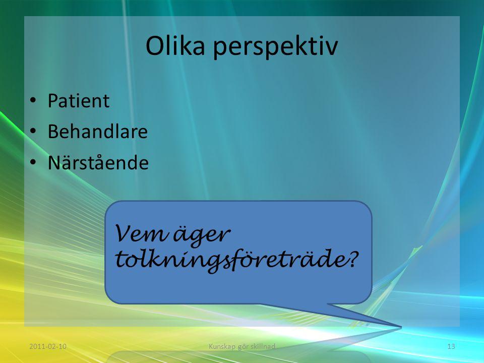 Olika perspektiv • Patient • Behandlare • Närstående 2011-02-10Kunskap gör skillnad13 Vem äger tolkningsföreträde?