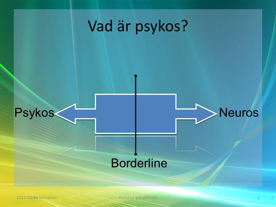 Vad är psykos? 2011-02-10Kunskap gör skillnad2Ulla Karilampi2 PsykosNeuros Borderline