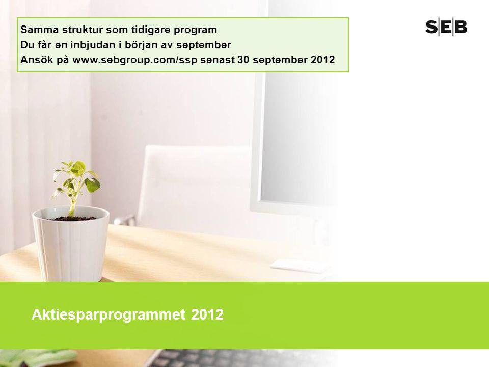 Aktiesparprogrammet 2012 Samma struktur som tidigare program Du får en inbjudan i början av september Ansök på www.sebgroup.com/ssp senast 30 september 2012