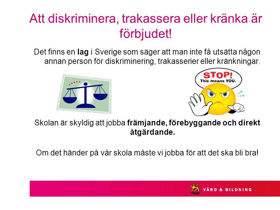 Att diskriminera, trakassera eller kränka är förbjudet.