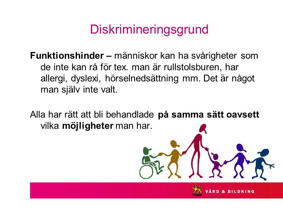 Diskrimineringsgrund Funktionshinder – människor kan ha svårigheter som de inte kan rå för tex.