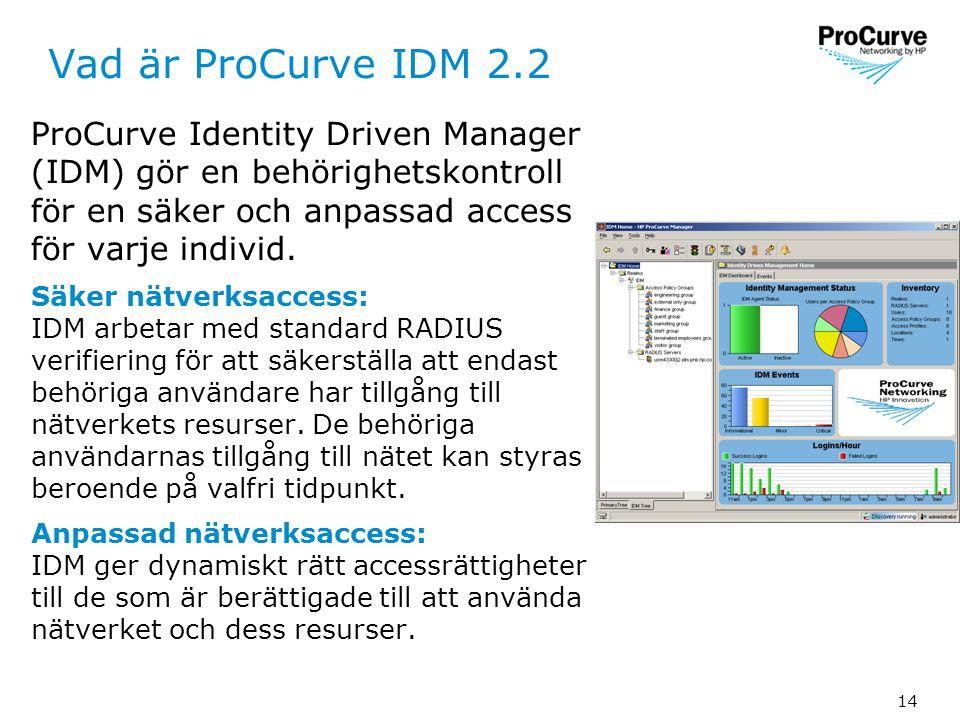 14 Vad är ProCurve IDM 2.2 ProCurve Identity Driven Manager (IDM) gör en behörighetskontroll för en säker och anpassad access för varje individ.