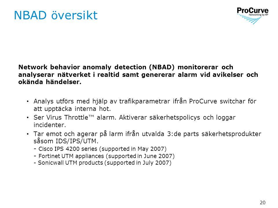 20 NBAD ö versikt Network behavior anomaly detection (NBAD) monitorerar och analyserar nätverket i realtid samt genererar alarm vid avikelser och okända händelser.