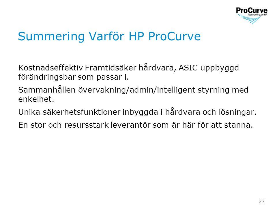 23 Summering Varför HP ProCurve Kostnadseffektiv Framtidsäker hårdvara, ASIC uppbyggd förändringsbar som passar i.
