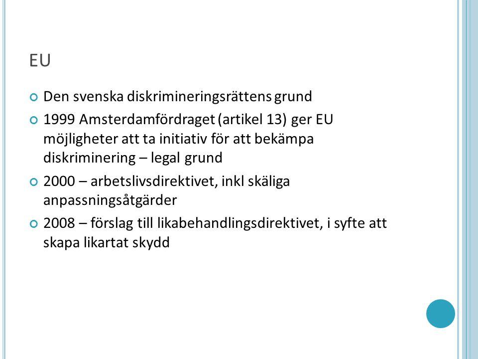 EU Den svenska diskrimineringsrättens grund 1999 Amsterdamfördraget (artikel 13) ger EU möjligheter att ta initiativ för att bekämpa diskriminering – legal grund 2000 – arbetslivsdirektivet, inkl skäliga anpassningsåtgärder 2008 – förslag till likabehandlingsdirektivet, i syfte att skapa likartat skydd