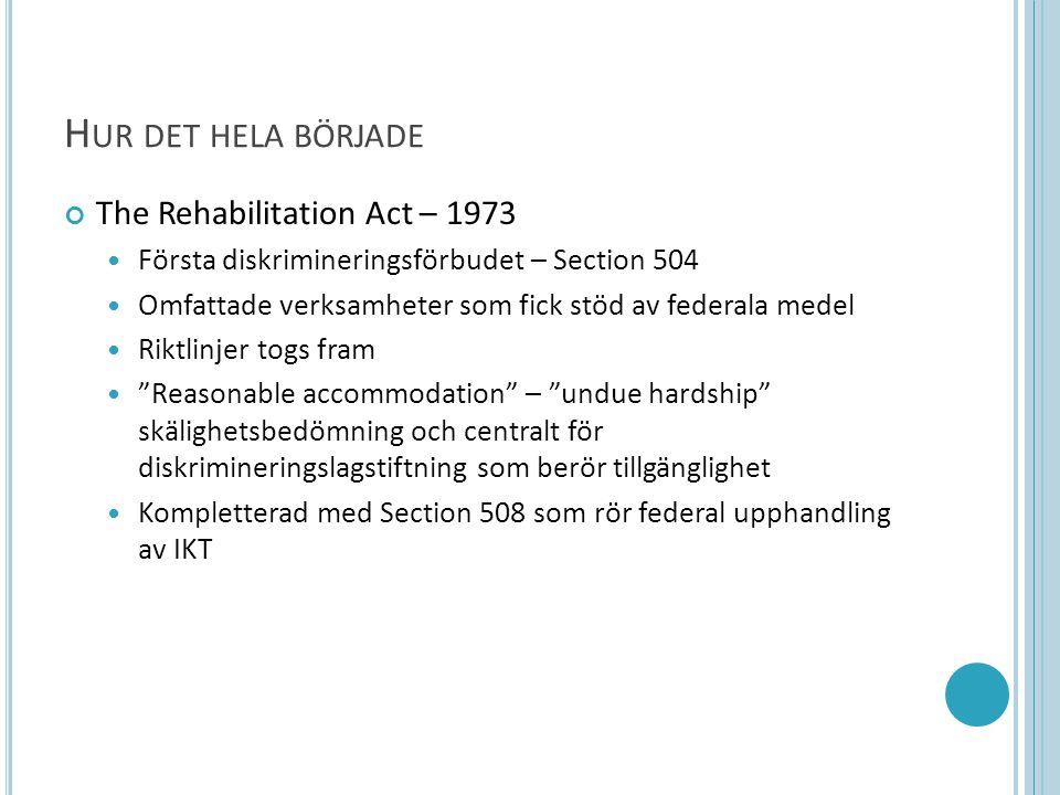H UR DET HELA BÖRJADE The Rehabilitation Act – 1973  Första diskrimineringsförbudet – Section 504  Omfattade verksamheter som fick stöd av federala medel  Riktlinjer togs fram  Reasonable accommodation – undue hardship skälighetsbedömning och centralt för diskrimineringslagstiftning som berör tillgänglighet  Kompletterad med Section 508 som rör federal upphandling av IKT