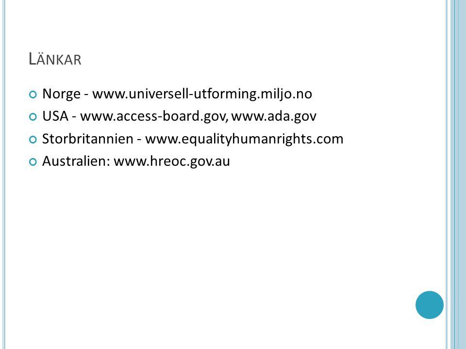 L ÄNKAR Norge - www.universell-utforming.miljo.no USA - www.access-board.gov, www.ada.gov Storbritannien - www.equalityhumanrights.com Australien: www.hreoc.gov.au