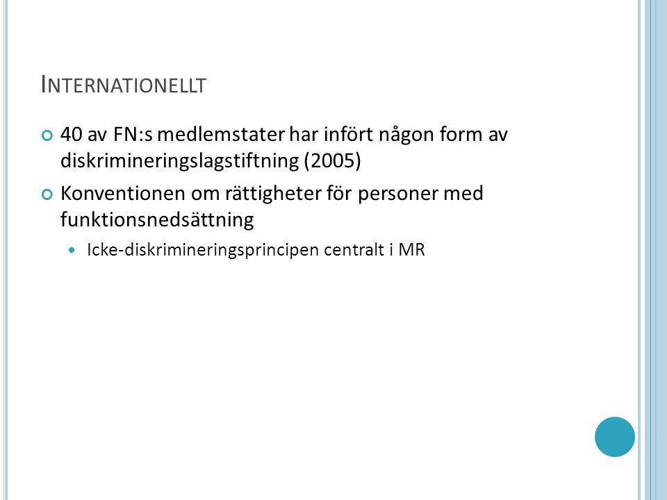 I NTERNATIONELLT 40 av FN:s medlemstater har infört någon form av diskrimineringslagstiftning (2005) Konventionen om rättigheter för personer med funktionsnedsättning  Icke-diskrimineringsprincipen centralt i MR