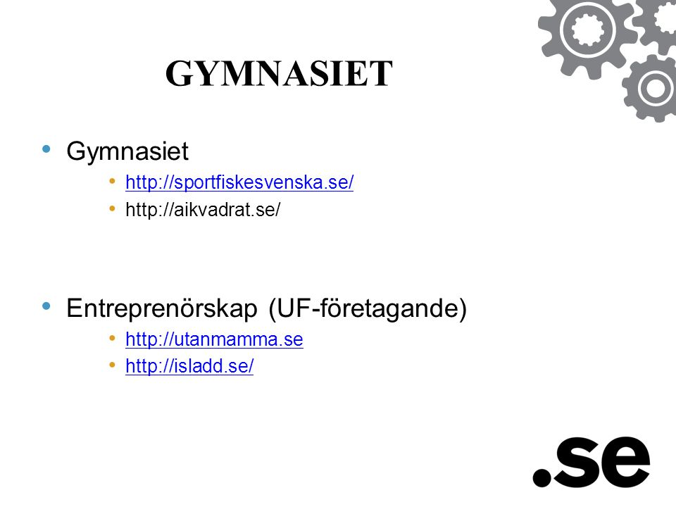 GYMNASIET • Gymnasiet • http://sportfiskesvenska.se/ http://sportfiskesvenska.se/ • http://aikvadrat.se/ • Entreprenörskap (UF-företagande) • http://utanmamma.se http://utanmamma.se • http://isladd.se/ http://isladd.se/