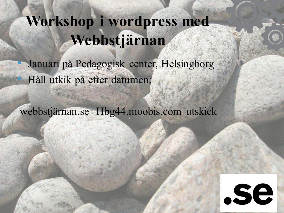 Workshop i wordpress med Webbstjärnan • Januari på Pedagogisk center, Helsingborg • Håll utkik på efter datumen; webbstjärnan.se Hbg44.moobis.com utsk