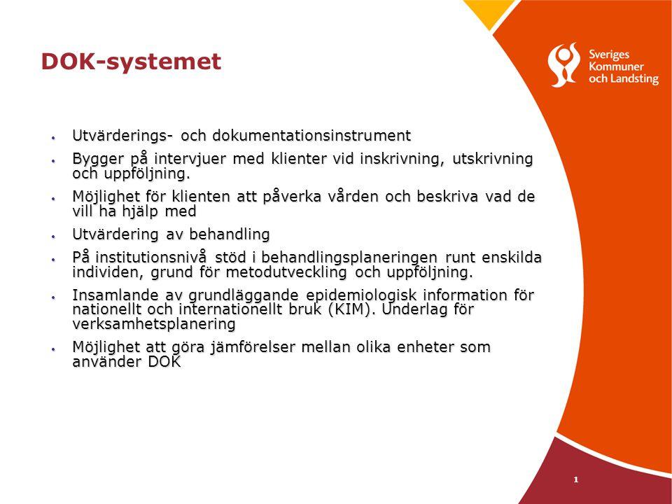 DOK-systemet 1 • Utvärderings- och dokumentationsinstrument • Bygger på intervjuer med klienter vid inskrivning, utskrivning och uppföljning. • Möjlig