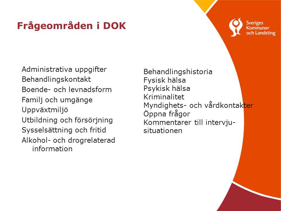Administrativa uppgifter Behandlingskontakt Boende- och levnadsform Familj och umgänge Uppväxtmiljö Utbildning och försörjning Sysselsättning och frit