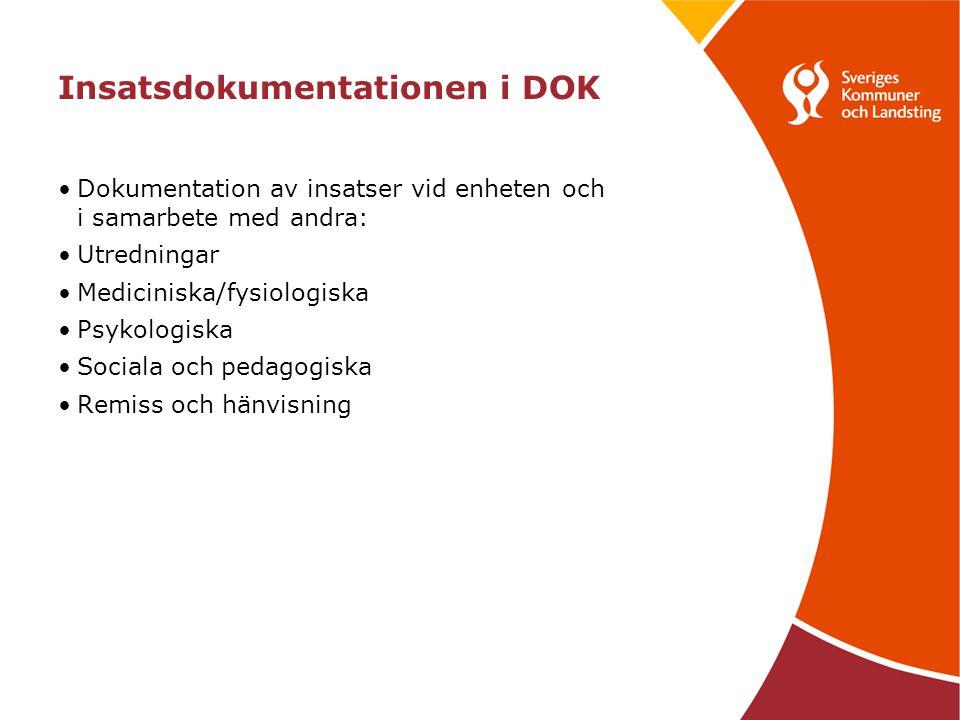 Insatsdokumentationen i DOK •Dokumentation av insatser vid enheten och i samarbete med andra: •Utredningar •Mediciniska/fysiologiska •Psykologiska •Sociala och pedagogiska •Remiss och hänvisning