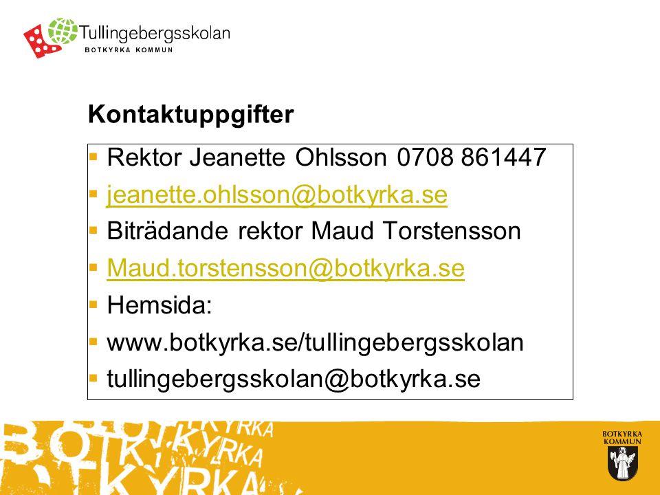 Kontaktuppgifter  Rektor Jeanette Ohlsson 0708 861447  jeanette.ohlsson@botkyrka.se jeanette.ohlsson@botkyrka.se  Biträdande rektor Maud Torstensson  Maud.torstensson@botkyrka.se Maud.torstensson@botkyrka.se  Hemsida:  www.botkyrka.se/tullingebergsskolan  tullingebergsskolan@botkyrka.se