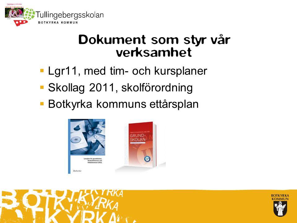 Dokument som styr vår verksamhet  Lgr11, med tim- och kursplaner  Skollag 2011, skolförordning  Botkyrka kommuns ettårsplan