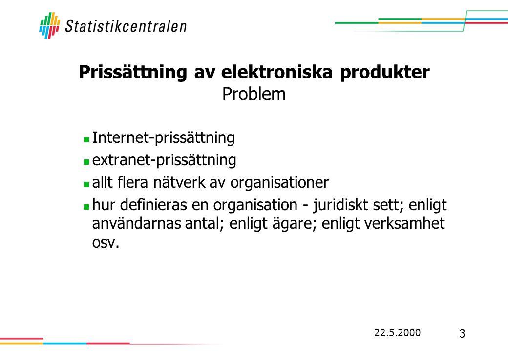 22.5.2000 3 Prissättning av elektroniska produkter Problem  Internet-prissättning  extranet-prissättning  allt flera nätverk av organisationer  hur definieras en organisation - juridiskt sett; enligt användarnas antal; enligt ägare; enligt verksamhet osv.