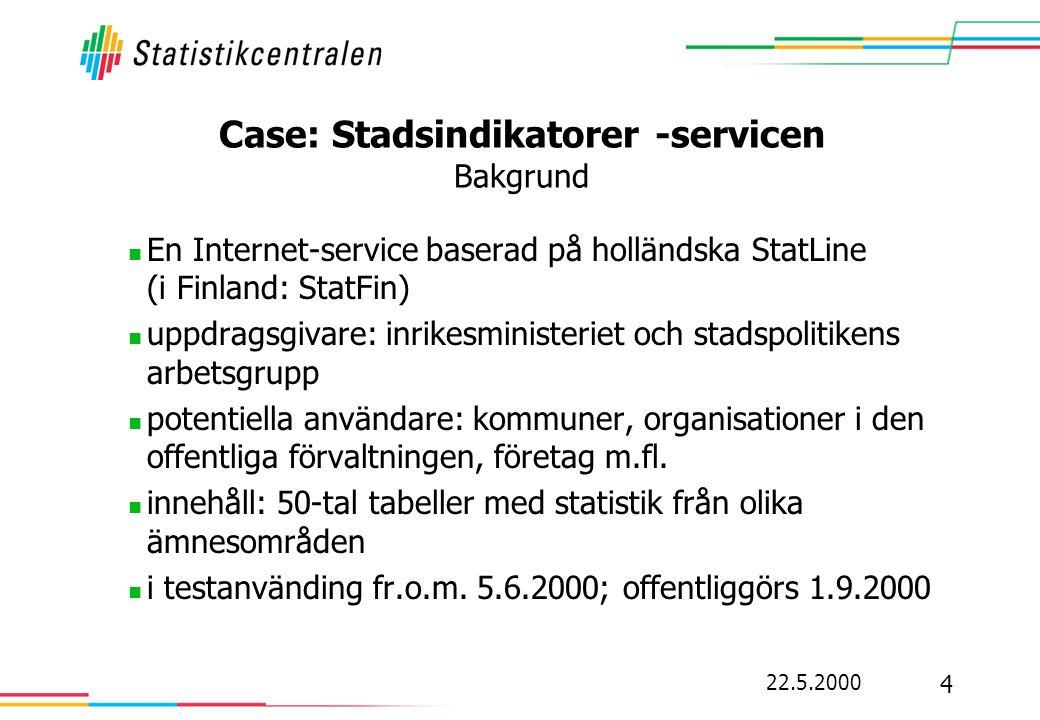 22.5.2000 4 Case: Stadsindikatorer -servicen Bakgrund  En Internet-service baserad på holländska StatLine (i Finland: StatFin)  uppdragsgivare: inrikesministeriet och stadspolitikens arbetsgrupp  potentiella användare: kommuner, organisationer i den offentliga förvaltningen, företag m.fl.