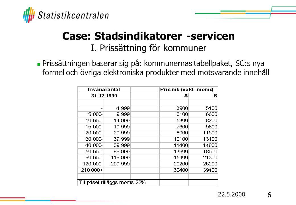 22.5.2000 6 Case: Stadsindikatorer -servicen I. Prissättning för kommuner  Prissättningen baserar sig på: kommunernas tabellpaket, SC:s nya formel oc