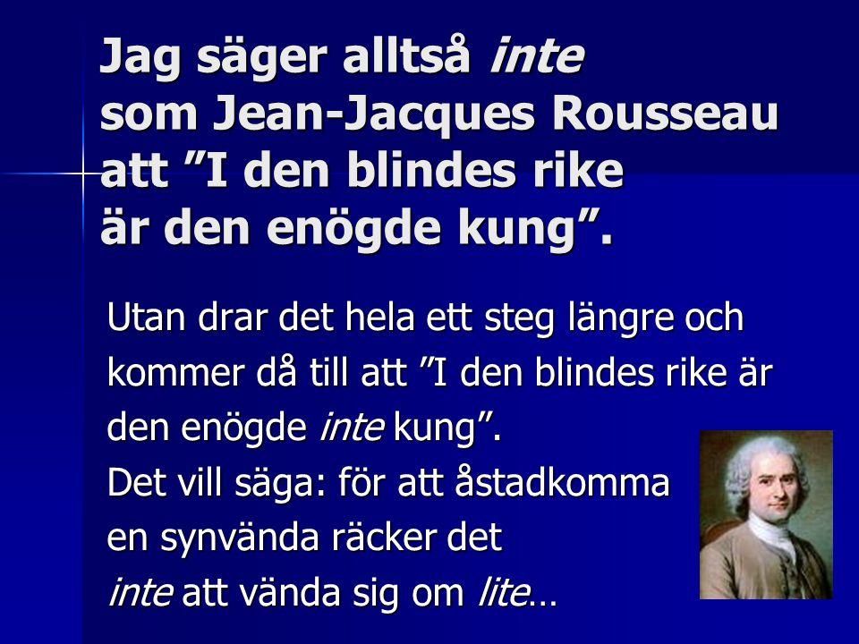 """Jag säger alltså inte som Jean-Jacques Rousseau att """"I den blindes rike är den enögde kung"""". Utan drar det hela ett steg längre och kommer då till att"""