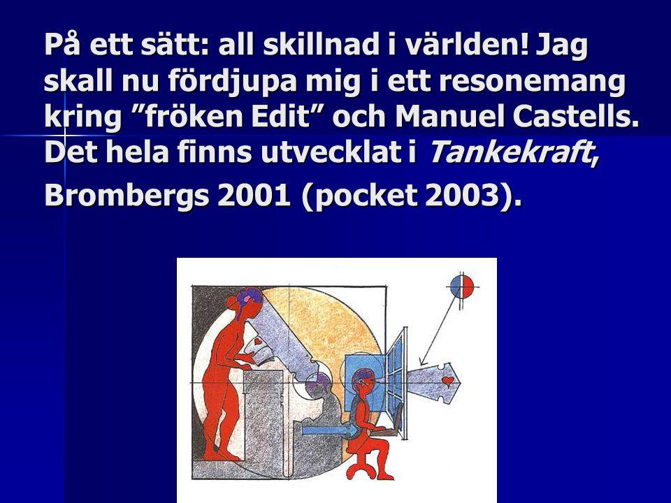 """På ett sätt: all skillnad i världen! Jag skall nu fördjupa mig i ett resonemang kring """"fröken Edit"""" och Manuel Castells. Det hela finns utvecklat i Ta"""