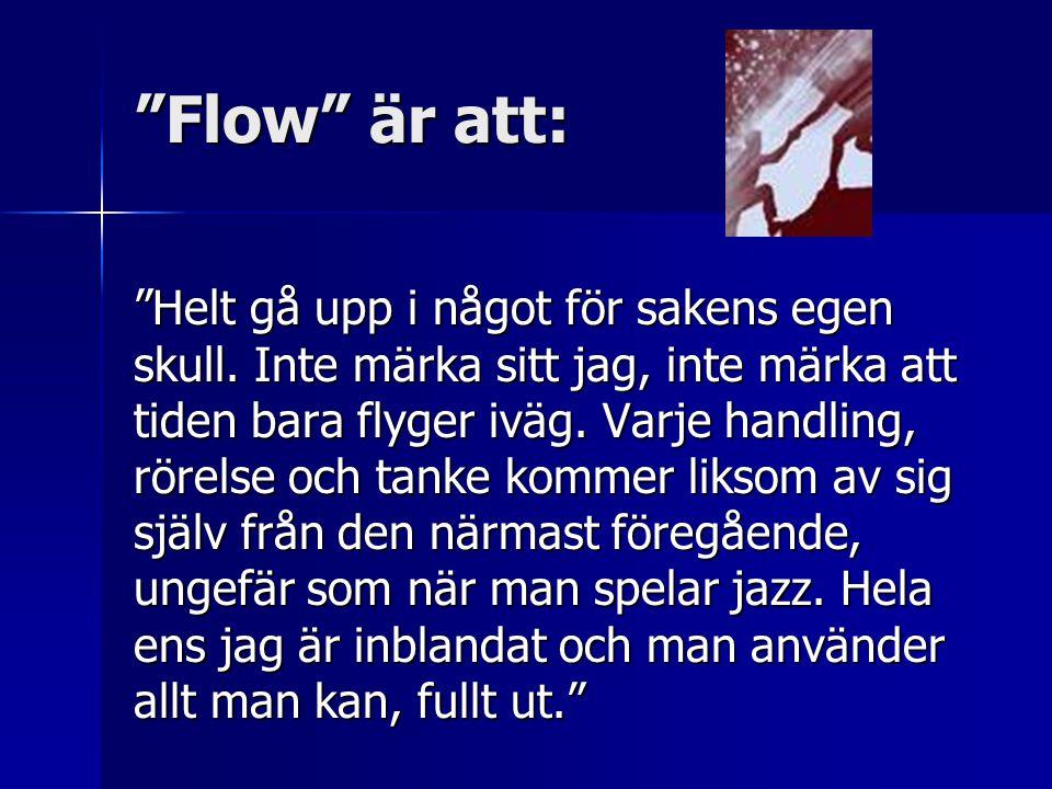 """""""Flow"""" är att: """"Helt gå upp i något för sakens egen skull. Inte märka sitt jag, inte märka att tiden bara flyger iväg. Varje handling, rörelse och tan"""