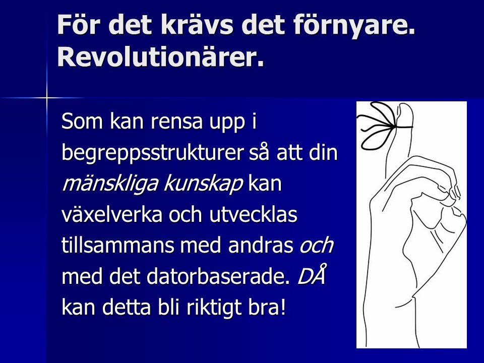 För det krävs det förnyare. Revolutionärer. Som kan rensa upp i begreppsstrukturer så att din mänskliga kunskap kan växelverka och utvecklas tillsamma