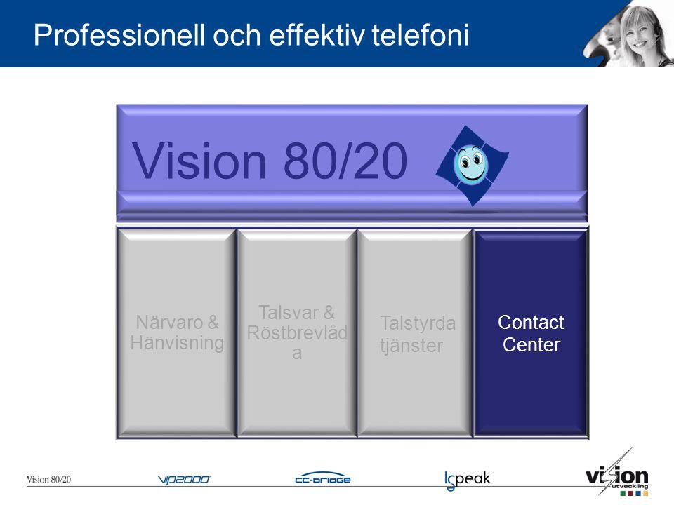 Vision 80/20 Närvaro & Hänvisning Talsvar & Röstbrevlåd a Contact Center Professionell och effektiv telefoni Talstyrda tjänster