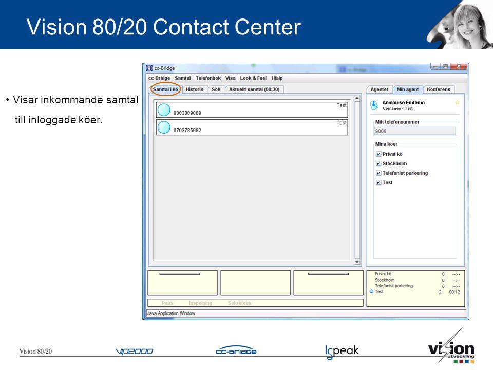 • Visar inkommande samtal till inloggade köer. Vision 80/20 Contact Center