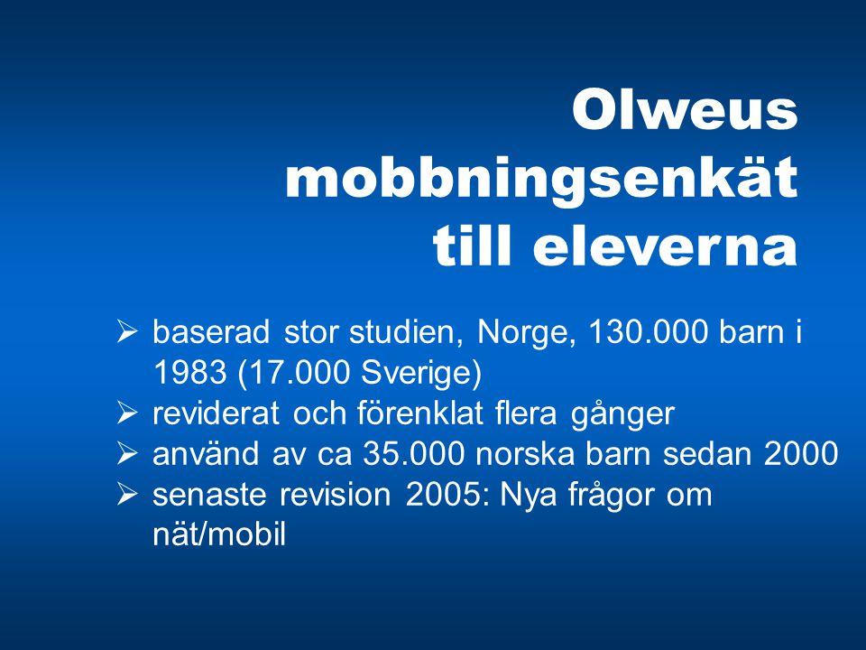 Olweus mobbningsenkät till eleverna  baserad stor studien, Norge, 130.000 barn i 1983 (17.000 Sverige)  reviderat och förenklat flera gånger  använ