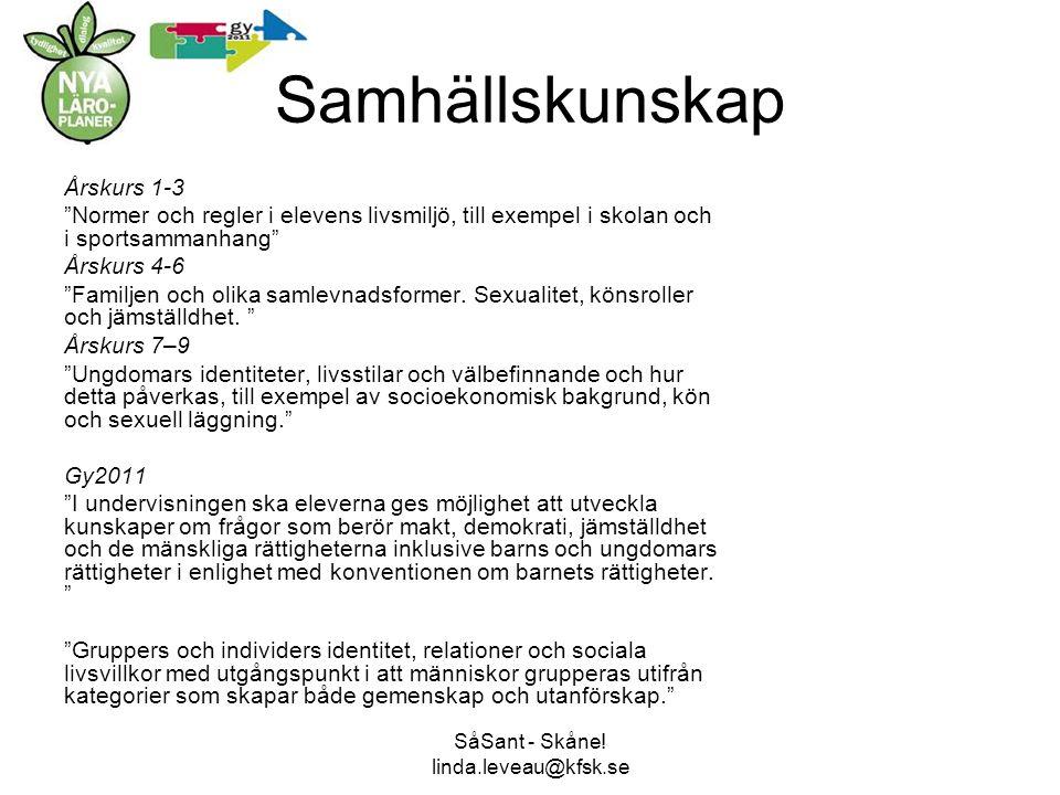 Samhällskunskap Årskurs 1-3 Normer och regler i elevens livsmiljö, till exempel i skolan och i sportsammanhang Årskurs 4-6 Familjen och olika samlevnadsformer.