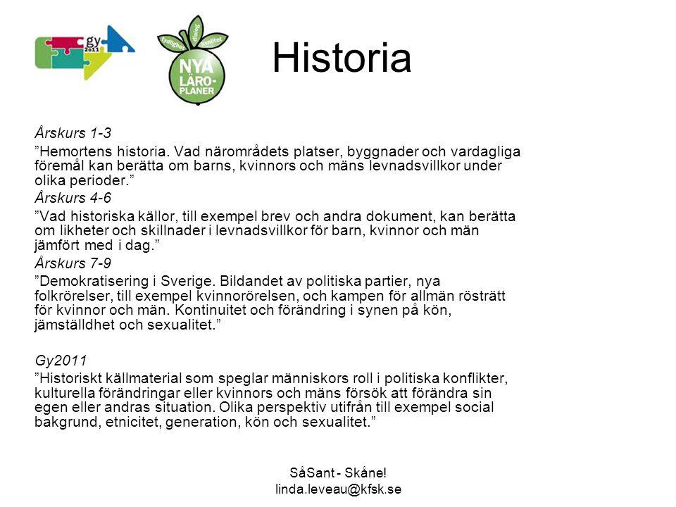 """SåSant - Skåne! linda.leveau@kfsk.se Historia Årskurs 1-3 """"Hemortens historia. Vad närområdets platser, byggnader och vardagliga föremål kan berätta o"""