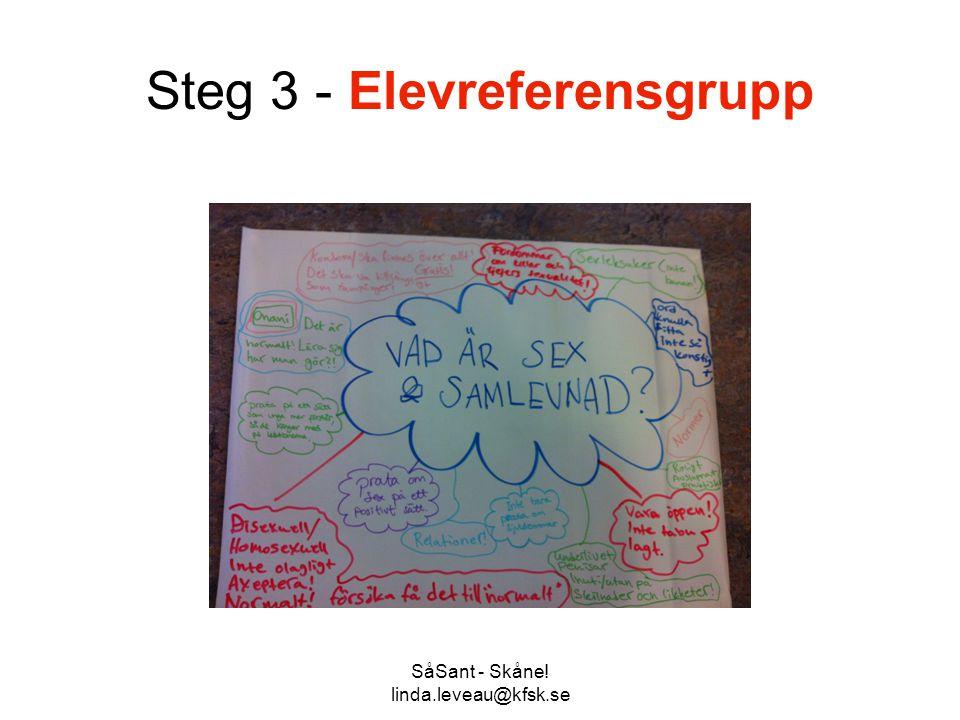 SåSant - Skåne! linda.leveau@kfsk.se Steg 3 - Elevreferensgrupp