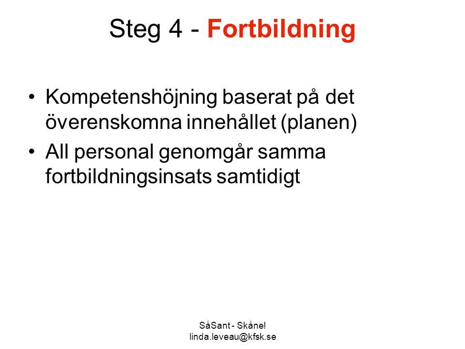 SåSant - Skåne! linda.leveau@kfsk.se Steg 4 - Fortbildning •Kompetenshöjning baserat på det överenskomna innehållet (planen) •All personal genomgår sa