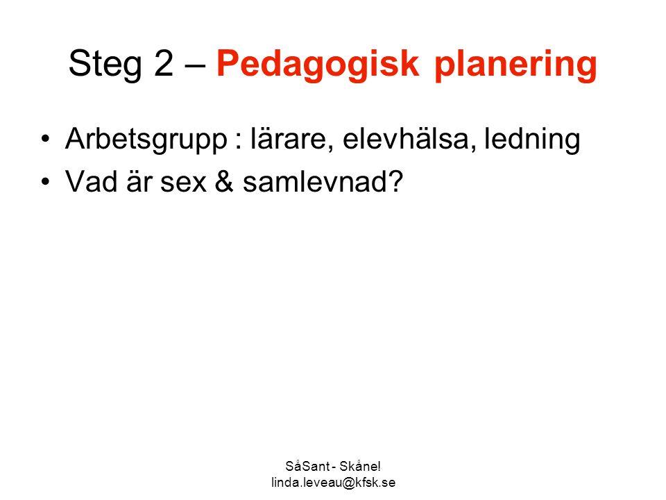SåSant - Skåne! linda.leveau@kfsk.se Steg 2 – Pedagogisk planering •Arbetsgrupp : lärare, elevhälsa, ledning •Vad är sex & samlevnad?