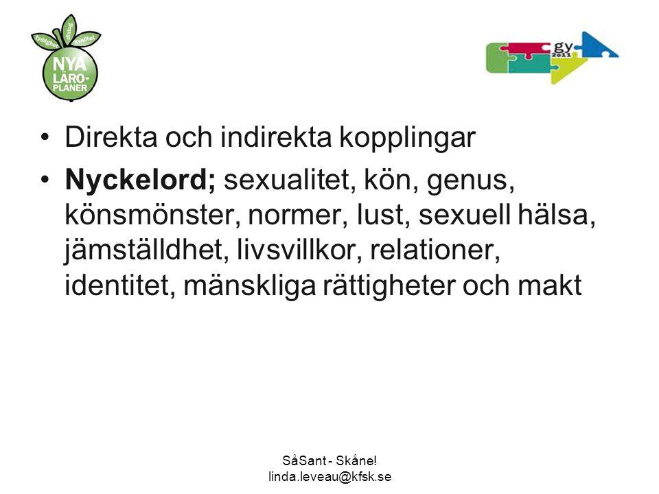 SåSant - Skåne! linda.leveau@kfsk.se •Direkta och indirekta kopplingar •Nyckelord; sexualitet, kön, genus, könsmönster, normer, lust, sexuell hälsa, j