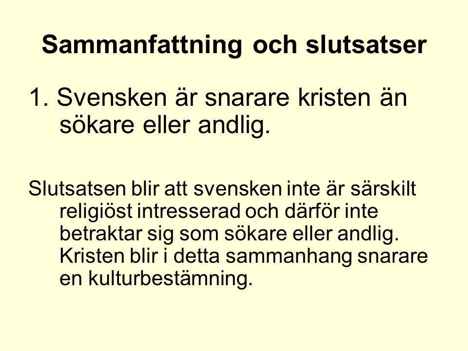 Sammanfattning och slutsatser 1. Svensken är snarare kristen än sökare eller andlig.