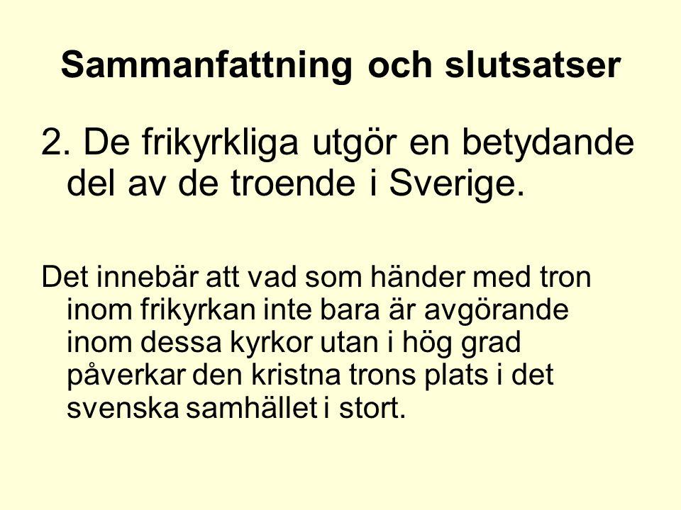 Sammanfattning och slutsatser 2. De frikyrkliga utgör en betydande del av de troende i Sverige.