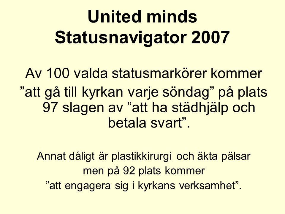 United minds Statusnavigator 2007 Av 100 valda statusmarkörer kommer att gå till kyrkan varje söndag på plats 97 slagen av att ha städhjälp och betala svart .
