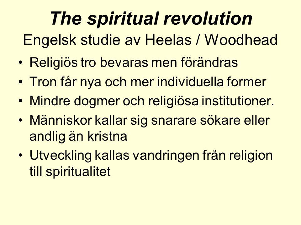 The spiritual revolution Engelsk studie av Heelas / Woodhead •Religiös tro bevaras men förändras •Tron får nya och mer individuella former •Mindre dogmer och religiösa institutioner.
