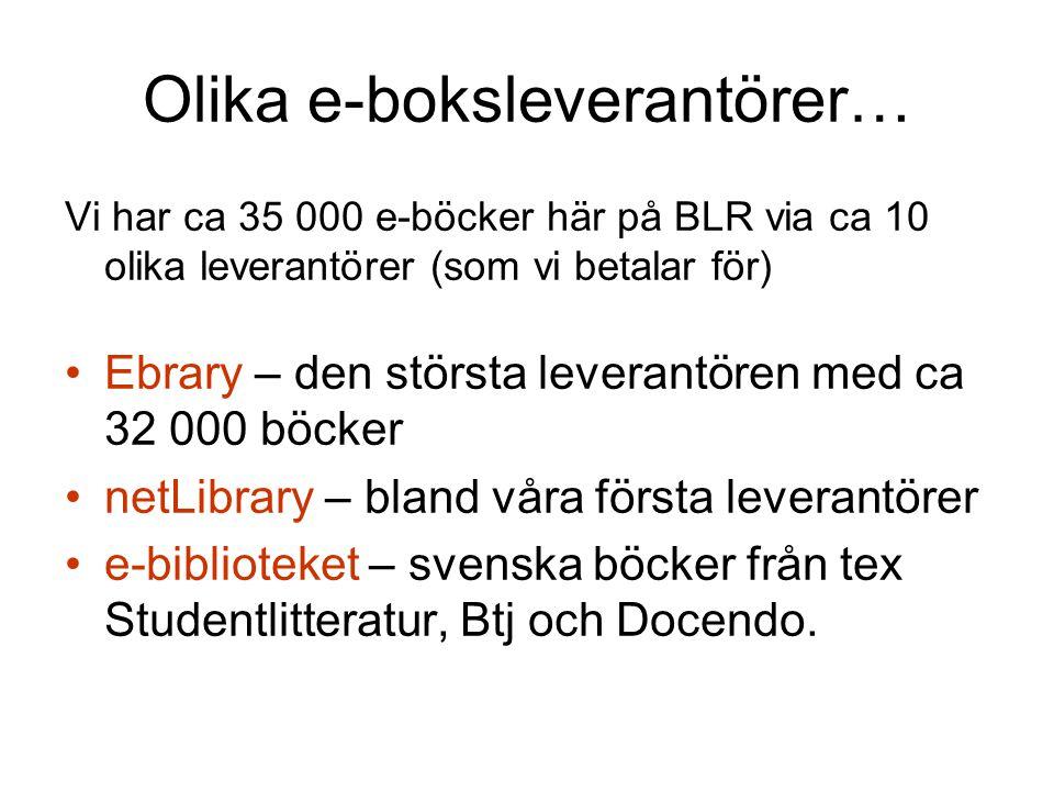 Olika e-boksleverantörer… Vi har ca 35 000 e-böcker här på BLR via ca 10 olika leverantörer (som vi betalar för) •Ebrary – den största leverantören med ca 32 000 böcker •netLibrary – bland våra första leverantörer •e-biblioteket – svenska böcker från tex Studentlitteratur, Btj och Docendo.