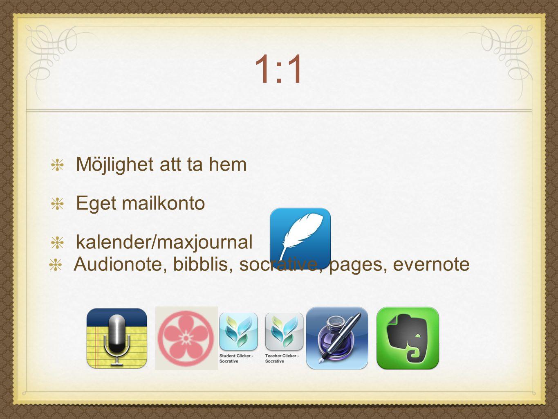 1:1 Möjlighet att ta hem Eget mailkonto kalender/maxjournal Audionote, bibblis, socrative, pages, evernote