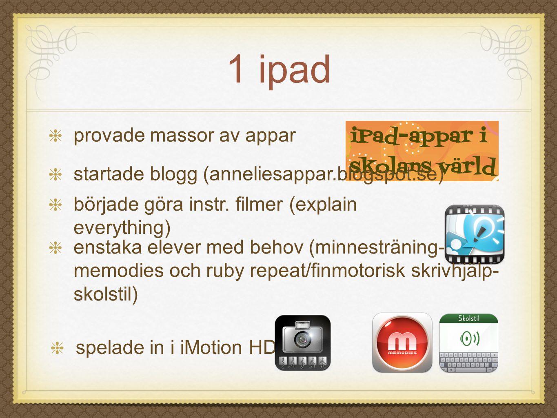 1 ipad spelade in i iMotion HD provade massor av appar startade blogg (anneliesappar.blogspot.se) började göra instr. filmer (explain everything) enst