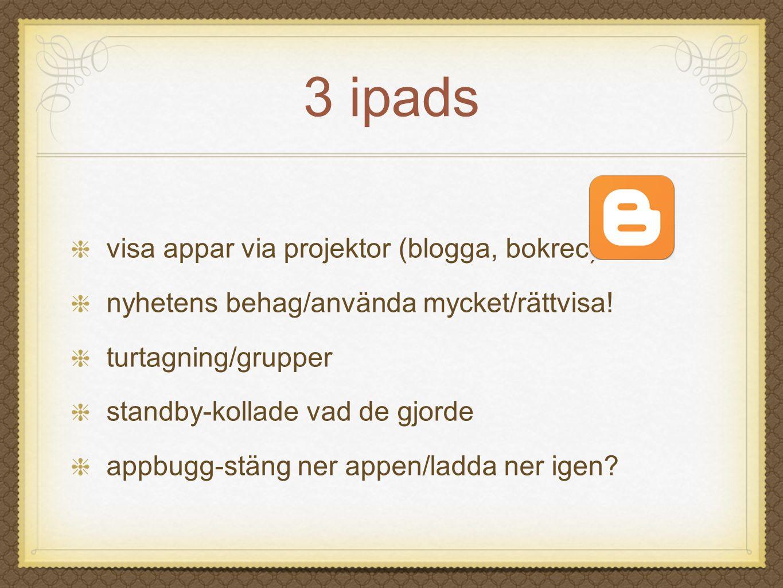 3 ipads visa appar via projektor (blogga, bokrec) nyhetens behag/använda mycket/rättvisa! turtagning/grupper standby-kollade vad de gjorde appbugg-stä